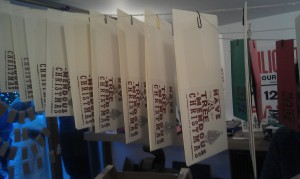 Hnaging cards up to dry.